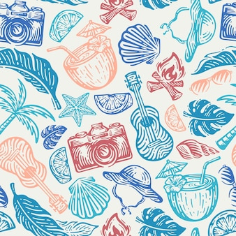 Pattern seamless of beach element in doodle