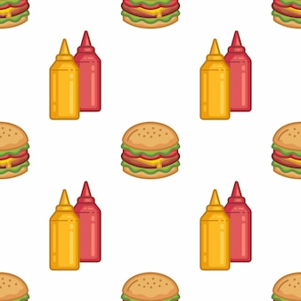 Pattern seamless of burger and sauces in style flat line modern design