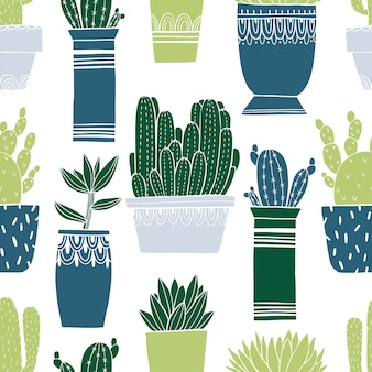 Pattern seamless cactus pot and succulent in sketch style