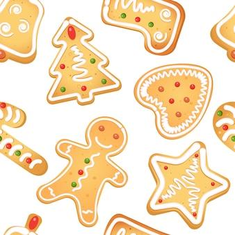 白い背景にシームレスなジンジャーブレッドクッキーをパターン化します。