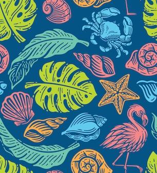낙서 그림에서 해변 요소의 원활한 패턴