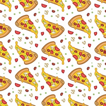Pattern seamless of pizza in style flat line modern design