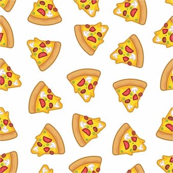 Pattern seamless of pizza in style flat line modern