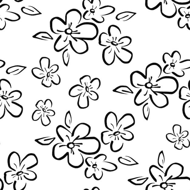 섬유 벡터 배경 꽃 직물 패턴 원활한 스케치 흑백 꽃 추세
