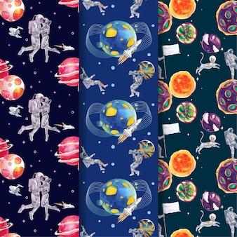 銀河のコンセプトデザイン水彩イラストとシームレスなテンプレートをパターン化する