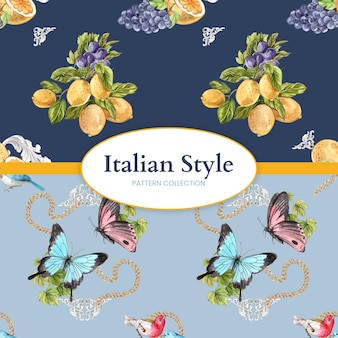 水彩風のイタリアン スタイルのパターンのシームレスなテンプレート