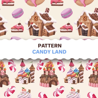 Pattern seamless with candy land concept design watercolor illustration