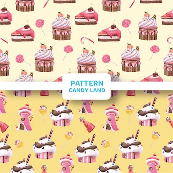 Pattern seamless with candy land concept