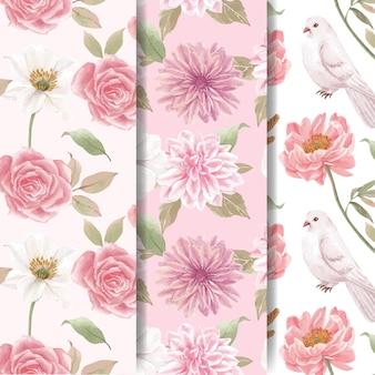 コテージコアの花のコンセプト、水彩スタイルとシームレスなパターン