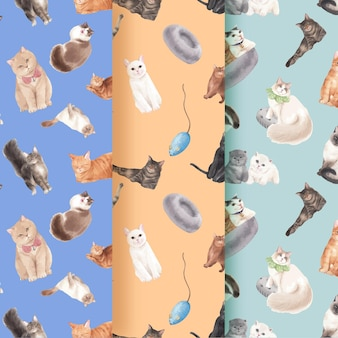 Pattern seamless with cute cat in watercolor style