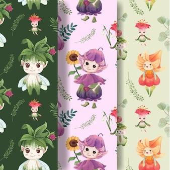 花のキャラクターの概念の水彩イラストとシームレスなパターン