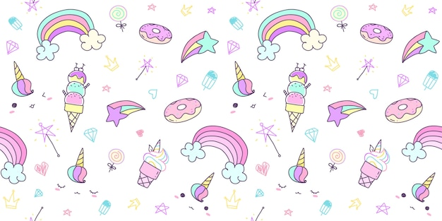 Pattern seamless with hand drawn unicorn in pastel color.