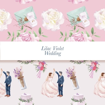 Шаблон бесшовные с сиреневой фиолетовой свадебной концепцией, акварельным стилем