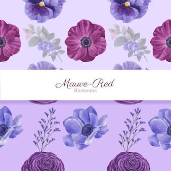 Шаблон бесшовные с красной цветочной концепцией muave, акварельный стиль