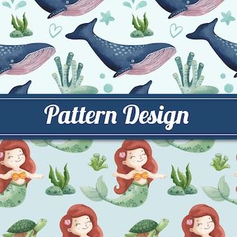 海に喜ばれるconceptwatercolorスタイルとシームレスなパターン