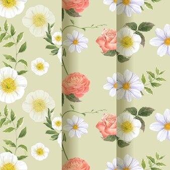 春の明るいコンセプトの水彩イラストとシームレスなパターン