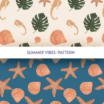 夏の雰囲気とシームレスなパターン