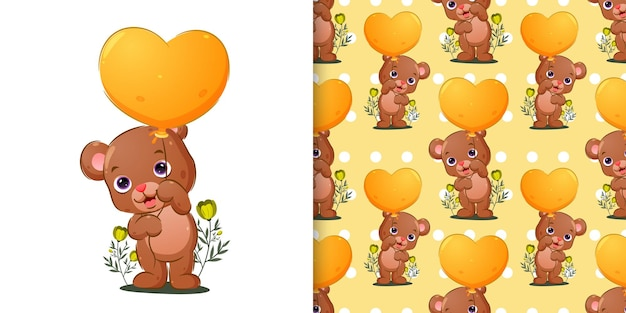 The pattern set of the bear is holding the bright colored balloon