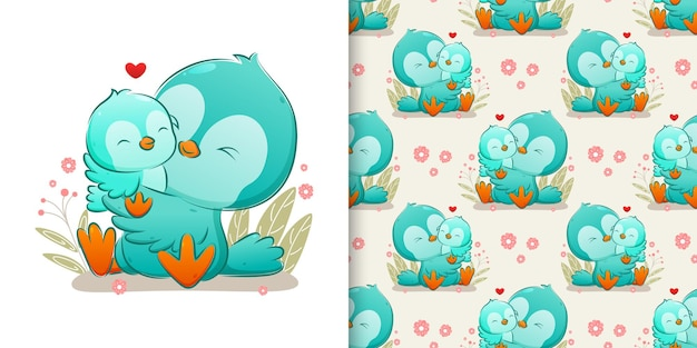 The pattern set family coloured bird hugging and kissing her baby bird of illustration