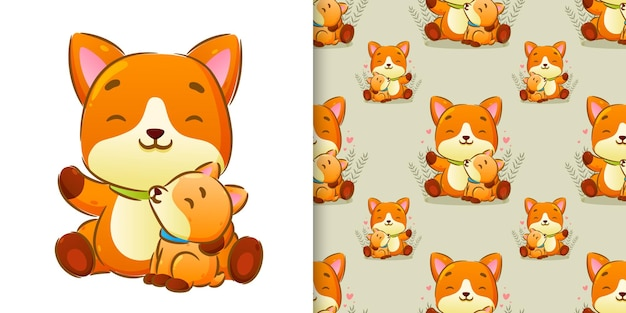 The pattern set of the sibling fox sitting together in the cute background of illustration