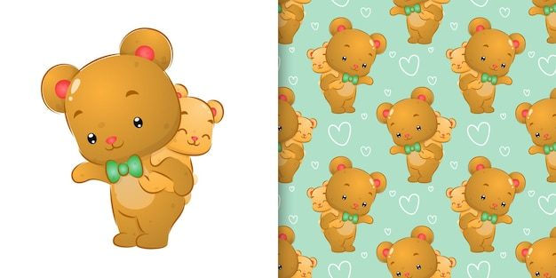 큰 곰의 패턴 세트 수채화가 등을 맞댄 작은 곰을 들고 일러스트