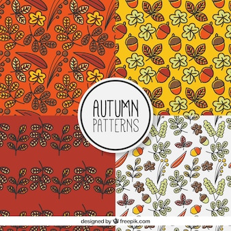Pattern set with acorns and leaves