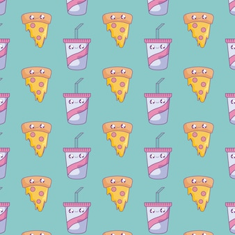 Pattern of slice pizza with beverages bottles kawaii style