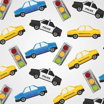 Pattern of small police cars taxis and traffic lights