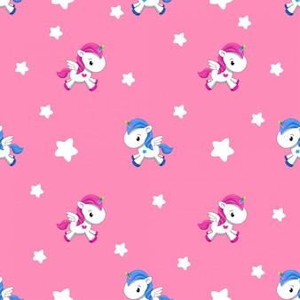 Pattern of a small unicorn on a pink background.