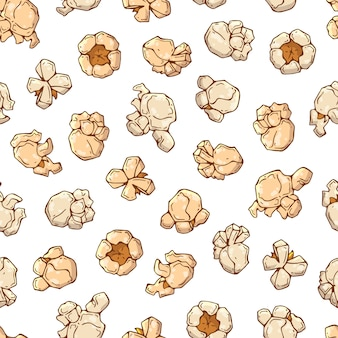 Pattern on the snacks theme: popcorn.