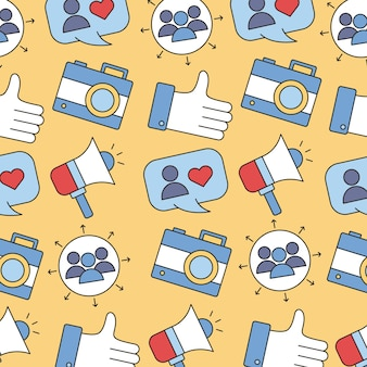 Pattern of social media set line and fill style icon illustration design
