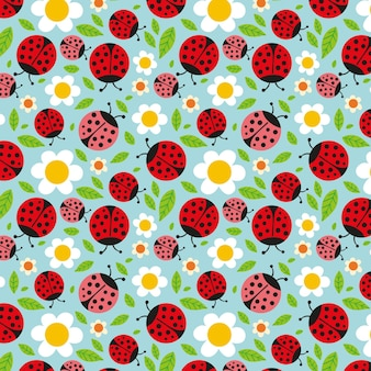 Pattern for spring with ladybugs and flowers