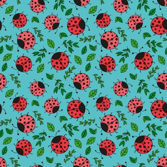 Pattern for spring with ladybugs and leaves