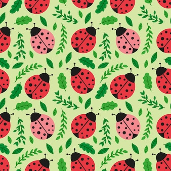 Pattern for spring with ladybugs