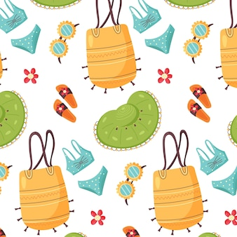 Pattern of summer items hat bag slippers glasses seamless vector background