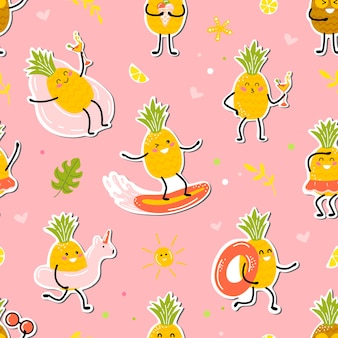 Pattern of summer time with happy pineappale