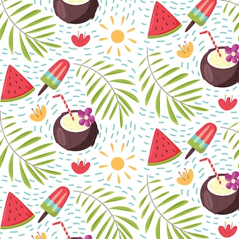 Pattern of summer tropical leaves ice cream coconut watermelon seamless vector background