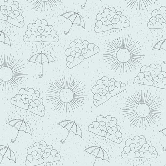 Pattern of sun and clouds and umbrellas