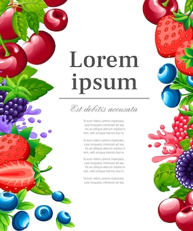 Pattern of sweet berries. illustration with strawberry, cherry, raspberry, blackberry and blueberry. berries with green leaves.  illustration for decorative poster. place for your text.