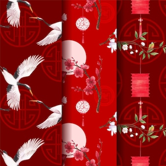 Pattern template with happy chinese new year concept design watercolor illustration