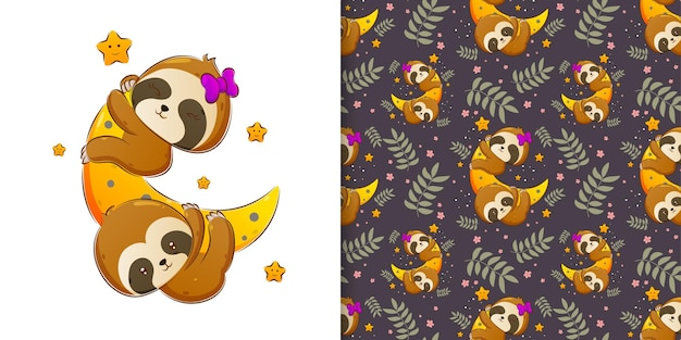 The pattern of the two sloth holding and sleeping on the moon at the night of illustration