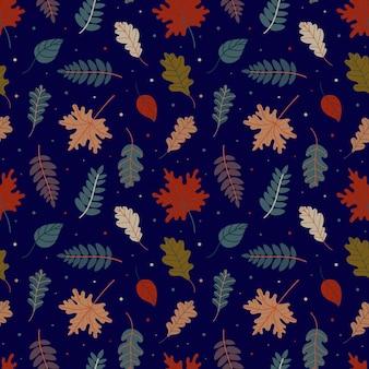 Pattern of various autumn leaves vector illustration