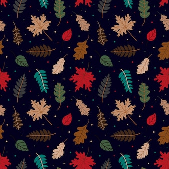 Pattern of various autumn leaves