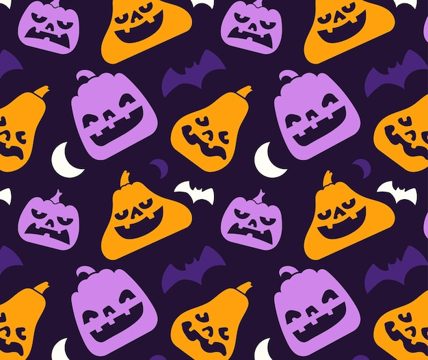 Pattern of various pumpkin silhouette with face and halloween element.
