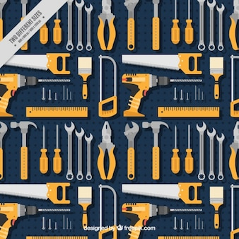 Pattern of various tools in flat design