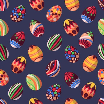 Pattern of vector chocolate easter eggs.
