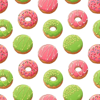 Pattern of vector donuts decorated with toppings