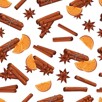 Pattern of vector festive sticks of cinnamon