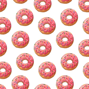 Pattern of vector glazed donuts decorated with toppings.