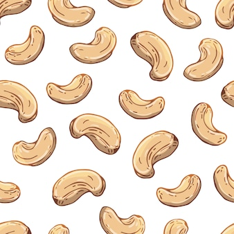 Pattern of vector illustrations on the nuts theme